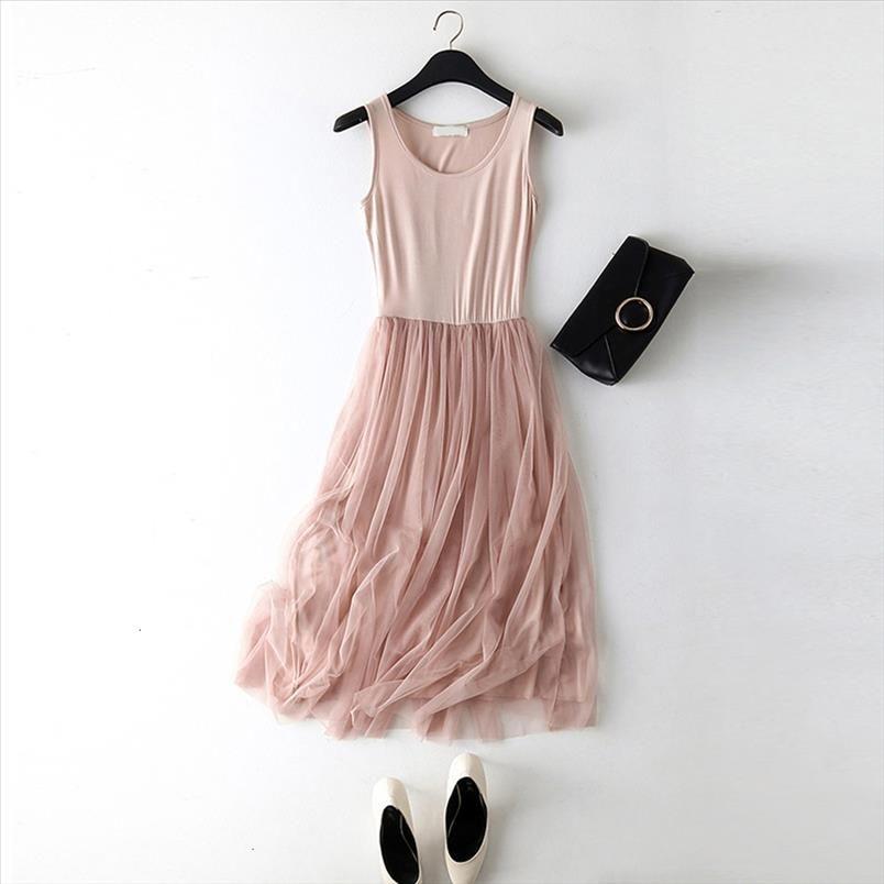 Femmes robe sans manches O col lâche Spaghetti sangle printemps robe d'été coton élégant fête robes de concepteur vêtements