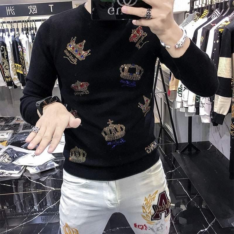 2021Autumn e inverno maglione da uomo maglione moda corona di moda perforatura calda casual slim caldo maglia pullover