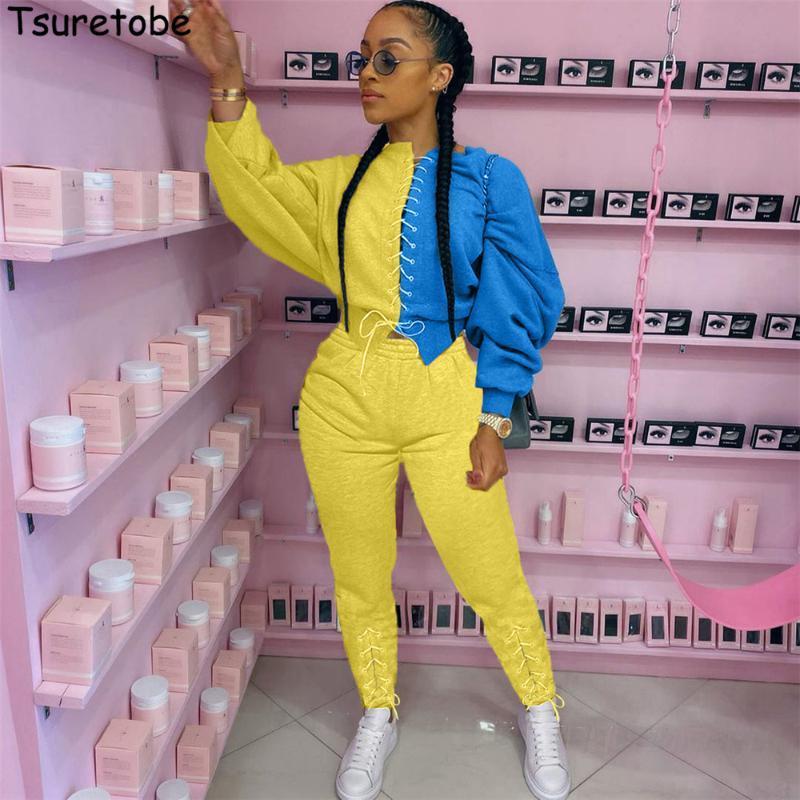 Tsuretobe Bandaj Patchwork İki Adet Set Kadınlar Lace Up Crop Top Sweatpants Womé için 2020 Kadın Giyim Moda sweatsuits Güz