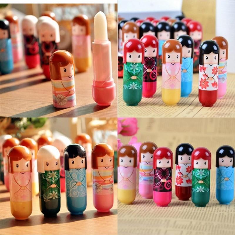 Cartoon-japanische Puppe feuchtigkeitsspendende Kimono-Puppe-LiP-Balsam nettes reizendes Muster-Geschenk für Mädchen-Dame bunte Mädchen Lippen-Balsam Kawaii vorhanden 70 P2