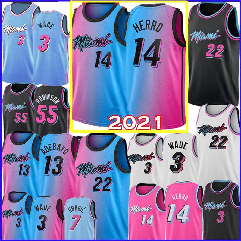 2021 Tyler 14 Herro Jersey Dwyane 3 Wade Jimmy 22 Butler Jersey 55 Robinson Goran 7 Dragic Bam 13 Adebayo Basketball-Trikots
