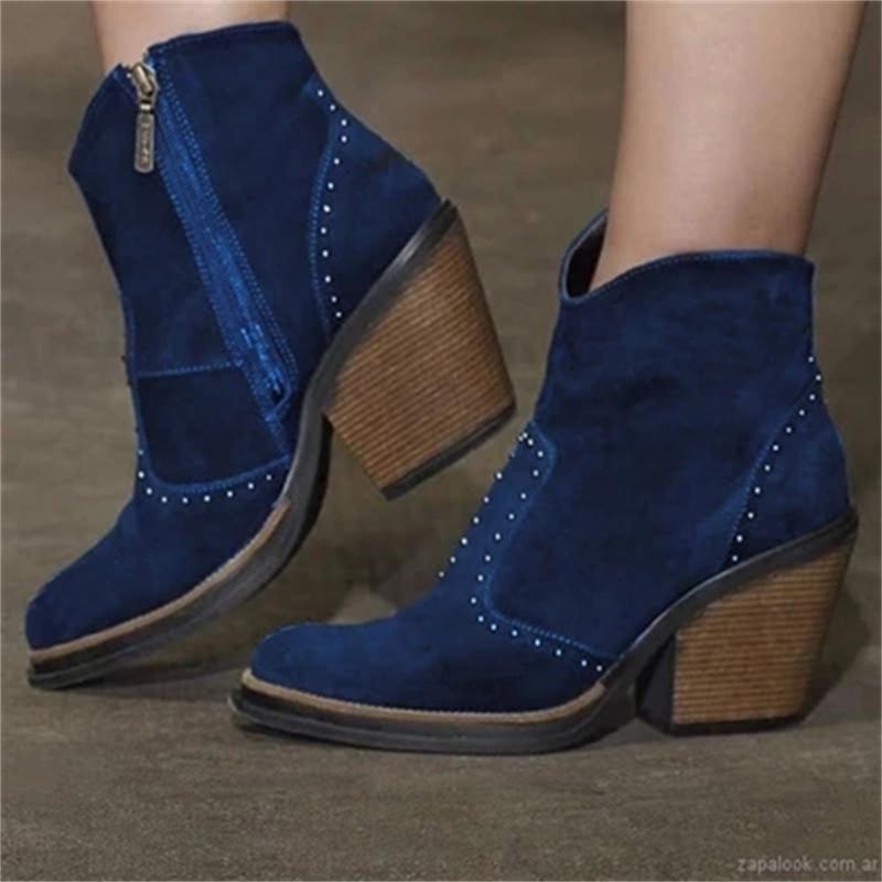 الكعوب منصة النساء ريترو برشام الكاحل أحذية عالية زيبر قصيرة الحذاء كاوبوي الشتاء الخريف الدافئة أحذية 2020