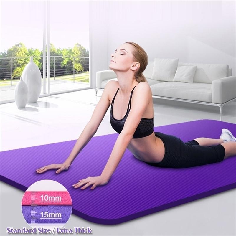 7-10mm Extra dicke NBR Rutschfeste Fitness Tapis Yoga-Matten Geschmacklose Sportgymnastik Training Pads mit Bandagen Pilates Tapete 201203