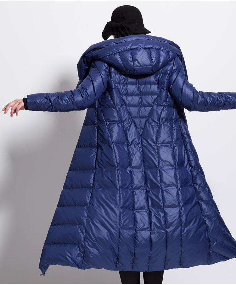 Bayan Kış Aşağı Ceket Su Geçirmez Uzun Kalın Büyük Boy Şapka Siyah Koyu Mavi Kadın Ceketler 201102