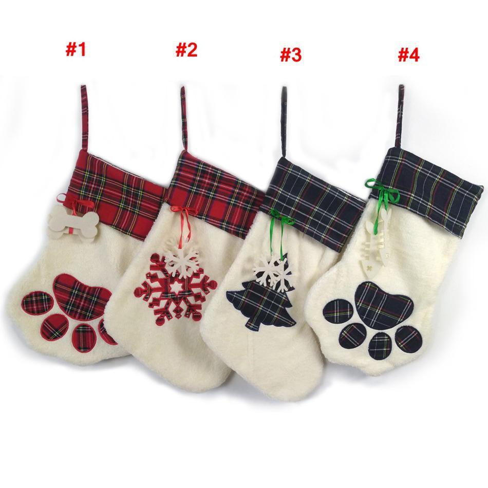 A pata do cão de Natal Cotações presente de doces Meia Decoração de Natal bonito Árvore Bolsas Detalhes no Stocking meias sacos