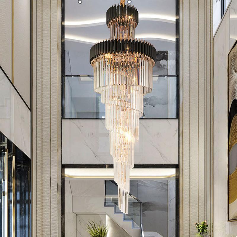 큰 탑 긴 크리스탈 LED 샹들리에 호텔 홀 거실 럭셔리 다층 계단 조명 블랙 스테인레스 스틸 빛 AC 90-265V