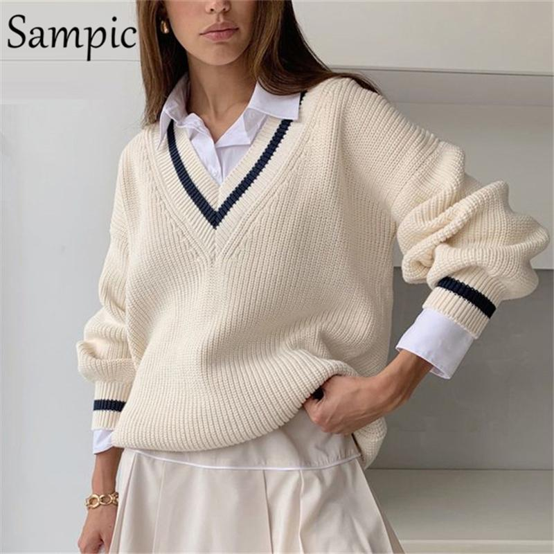 Sampic Winter Women Korean Preppy Style Knitted Basic Sweater Pullover Long Sleeve Beige Casual Sweater Jumpers Tops Outerwear Y200910