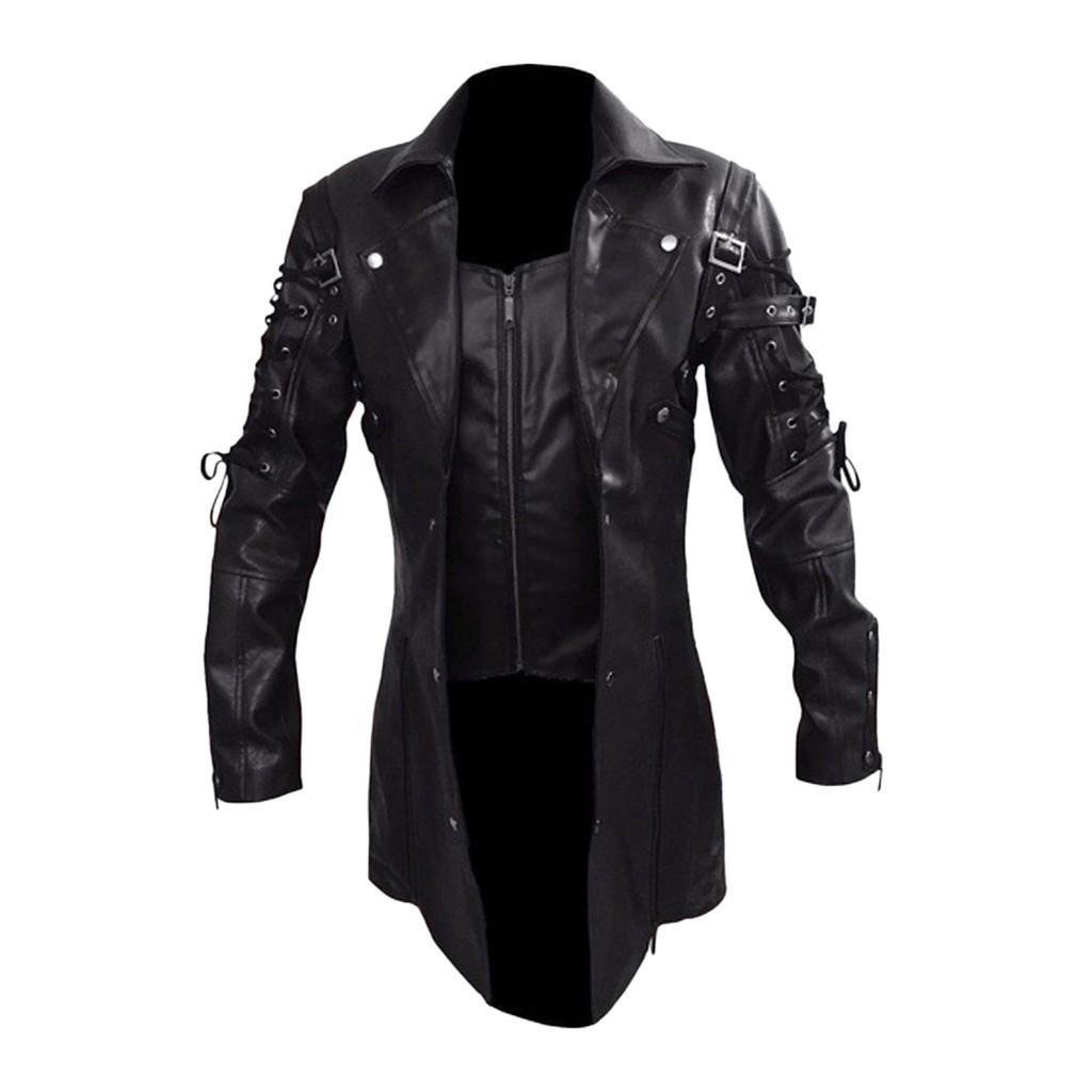Winter Wasserdicht Lange-Pelz-Mäntel Männer Leder Motorrad-Jacken Kleidung Gothic Schwarze Jacke Zipper