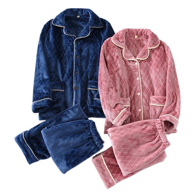 Flannel Пара Вовлечение Сохраняйте теплые комплекты Женщины Простая Японская Пижама простых плед Длинный рукав Зимние Любители Пижама D6AR