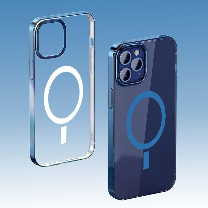 Magsafe Clear Case Магнитная Зарядка Крышка Гальванируйте ПК Абоназорная задняя крышка для iPhone 12 Mini 12 Pro Max