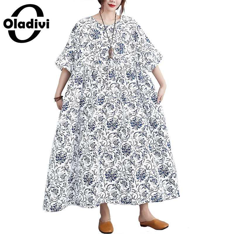 Casual Dresses Oladivi Oversized Odzież Plus Size Kobiety Moda Drukuj Lato Krótki Rękaw Długa Długa Lady Luźne Tuniki 8XL 7XL