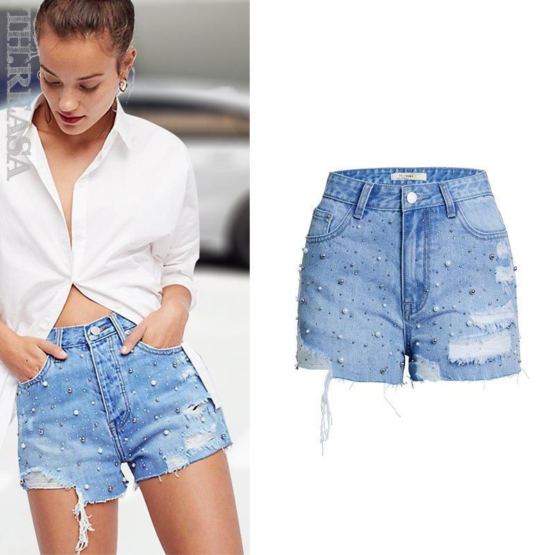 Pearl Stretch estate pantaloncini di jeans donne casual vita alta denim shorts stirata di modo Breve