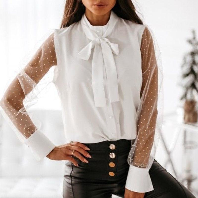 Женщины Блузки Рубашки Женщины Сексуальные Прозрачные сетки Блуза Элегантный Bowknot Кнопка Офис Леди Лоскутное Рукав Топы Пуловер1
