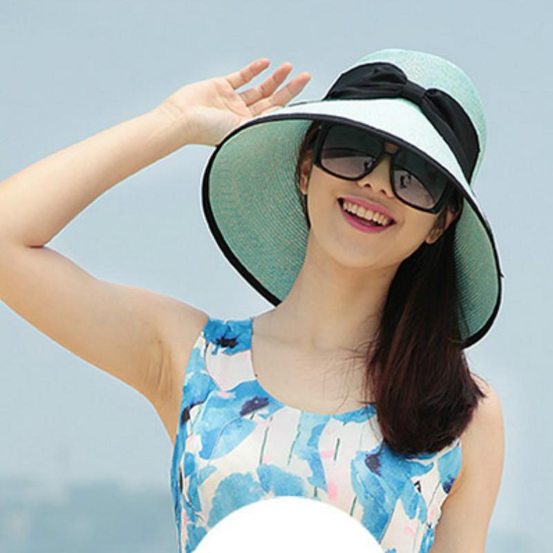 New Lady Chapéu de Sol Verão Straw Hat Mulheres dobrado Ampla Sun Cap Brim Viagens elegante New Headwear B-1964