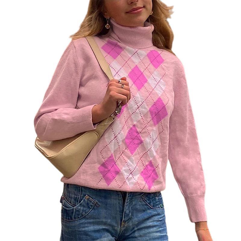 Moda para mujer Punto de punto Jersey Ropa de punto Turtimeneck Jumper Sweet Casual Cálido Suéteres Classic Diamond Plaid Impresa suéteres