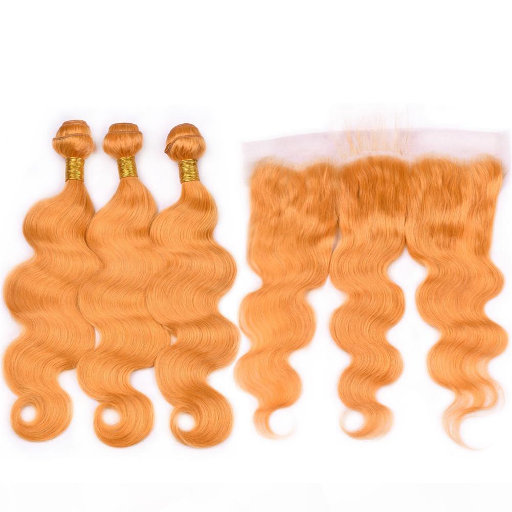 Capelli indiani umani del Virgin Orange Colored Weave Bundles 3Pcs con Frontale 4 pezzi corpo del lotto arancione onda trame dei capelli con 13x4 paliotti merletto pieno
