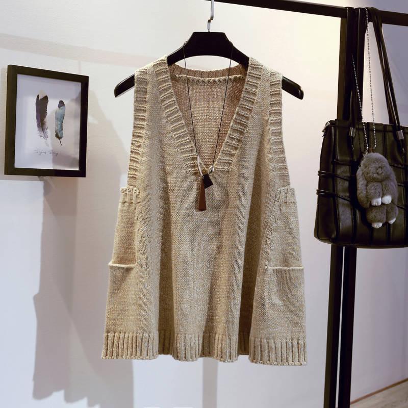 Cuello en v sueldo un suéter de línea chaleco mujer sin mangas fruncido color sólido moda casual jersey suéter chaleco femenino primavera otoño