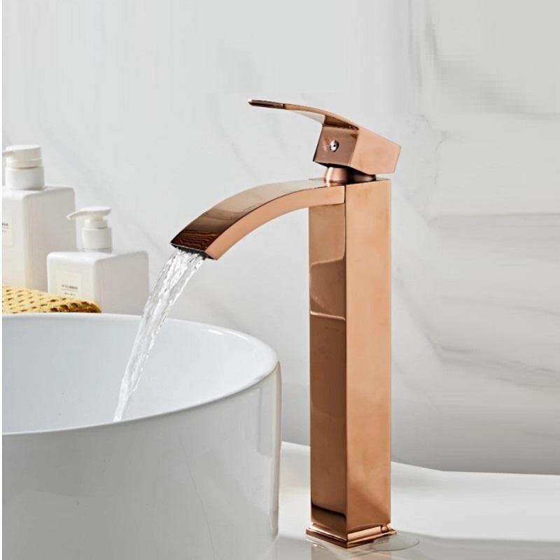 Смесители раковины ванной бассейна кран латуни одно рукоятка торнеирас Para pia de banheiro розовый золотой водопад