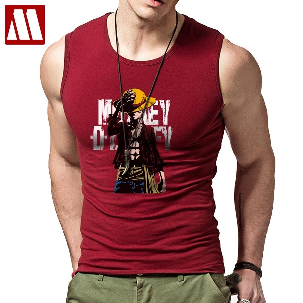 Hot Anime One Piece Monkey.D.Luffy Cartoon Cotton-Qualitäts-Unter Bodybuilding Fitness Weste Herren Tanktops 201009