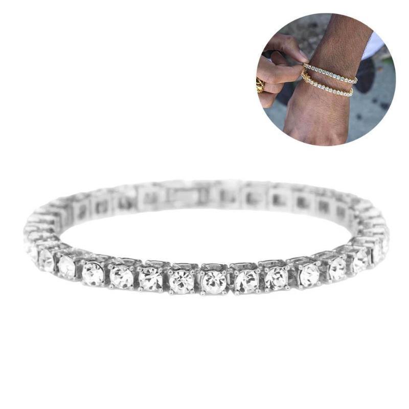 Luxuxkristallglas Armbänder für Frauen Silber überzogenen Rhinestone-Charme-Armband-Armbänder Femme Braut Hochzeit Schmuck Geburtstags-Geschenk