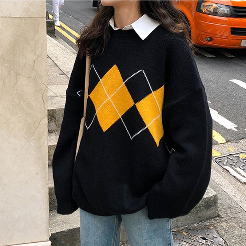 MXTIN Moda Geométrico Rhombic malha solta mulheres camisola 2020 O Neck Vintage manga comprida Feminino capuz Chique Tops Casual