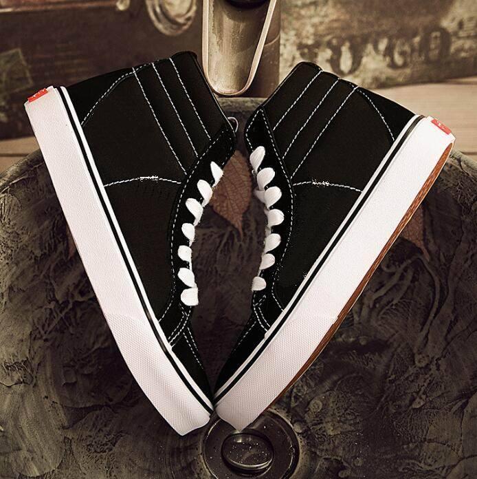 Dorp frete clássico preto branco skate sapatos velho skool sk8-hi canvas homens mulheres casuais sapatos lisos sapatilhas 35-45