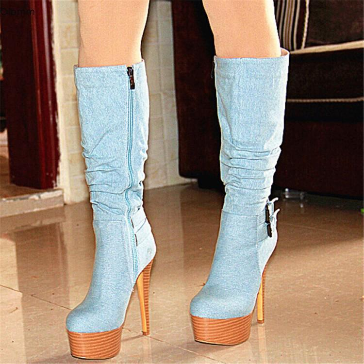 OLUMM Fashion Femmes Plate-forme Plate-forme High Denim Bottes Stiletto High High Talons Bottes Round Toe Bleu Chaussures Casual Femmes Plus US Taille 5-15
