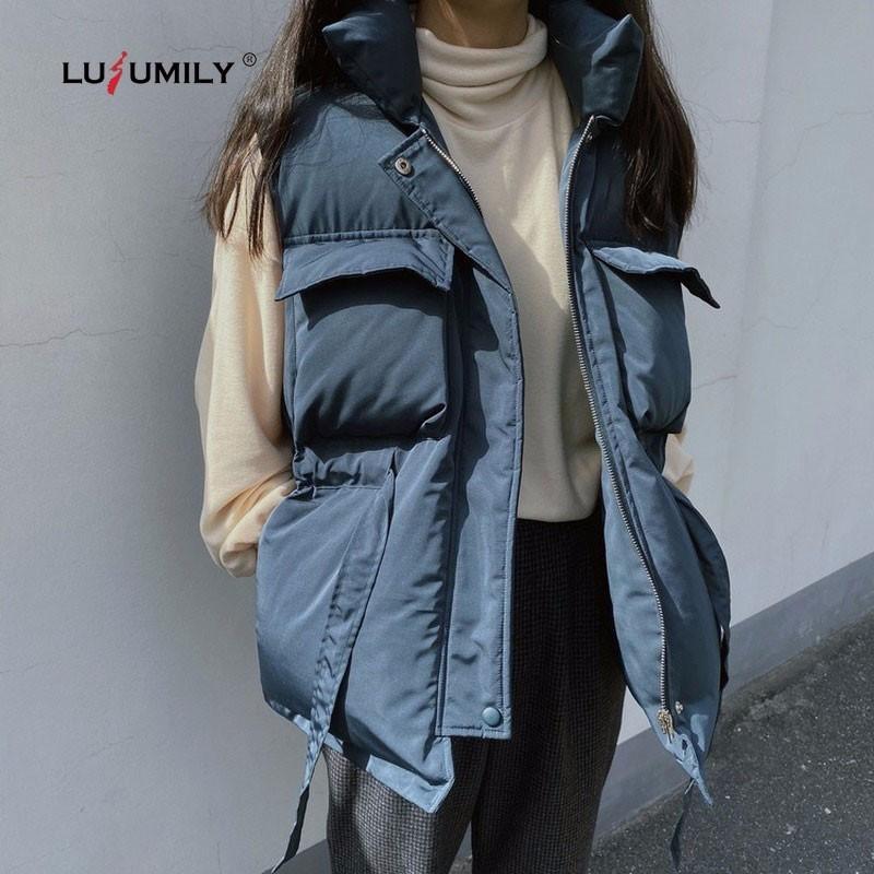 Lusumily Kış İlkbahar Aşağı yelek kadın Kore Stil Gevşek Kalınlaşmak Sıcak Kısa Yelek Puffer Kolsuz Ceket Kadın Veste