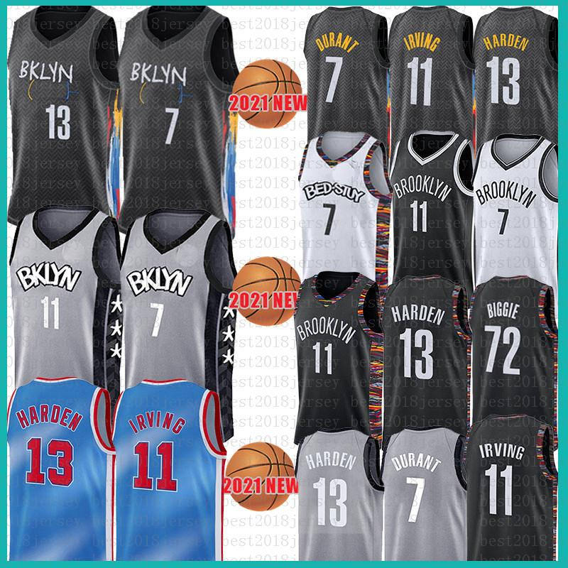 Brooklyn Nets 7 Kyrie 11 Kevin 72 Irving Biggie Durant James 13 Harden Basketabll Jersey Mens 2021 NCAA Jerseys Black Grey Blue White