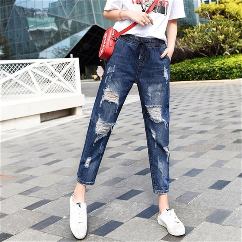 Free Shipping Women's 2020 New Spring / Summer Thin Harlem Jeans High Waist Ripped Ankle-Length Pants1