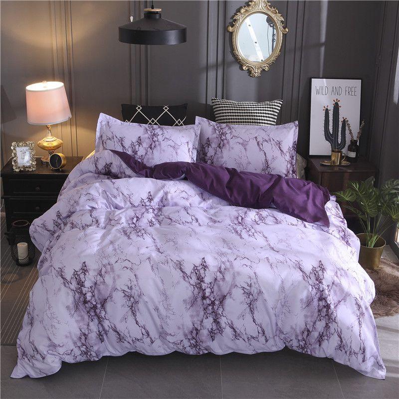 Set di biancheria da letto in marmo stampato Bianco Black Duvet Cover King Queen Size Trapunta Trapunta Breve BedClothes Copertura consolatore 3PCS