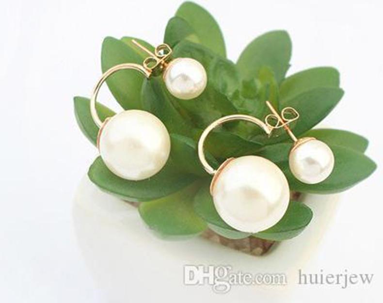 진주 Earings 패션 보석 도매 한국어 이중 진주 귀걸이 신부 골드 귀걸이 큰 캔디 볼 스터드 Earings
