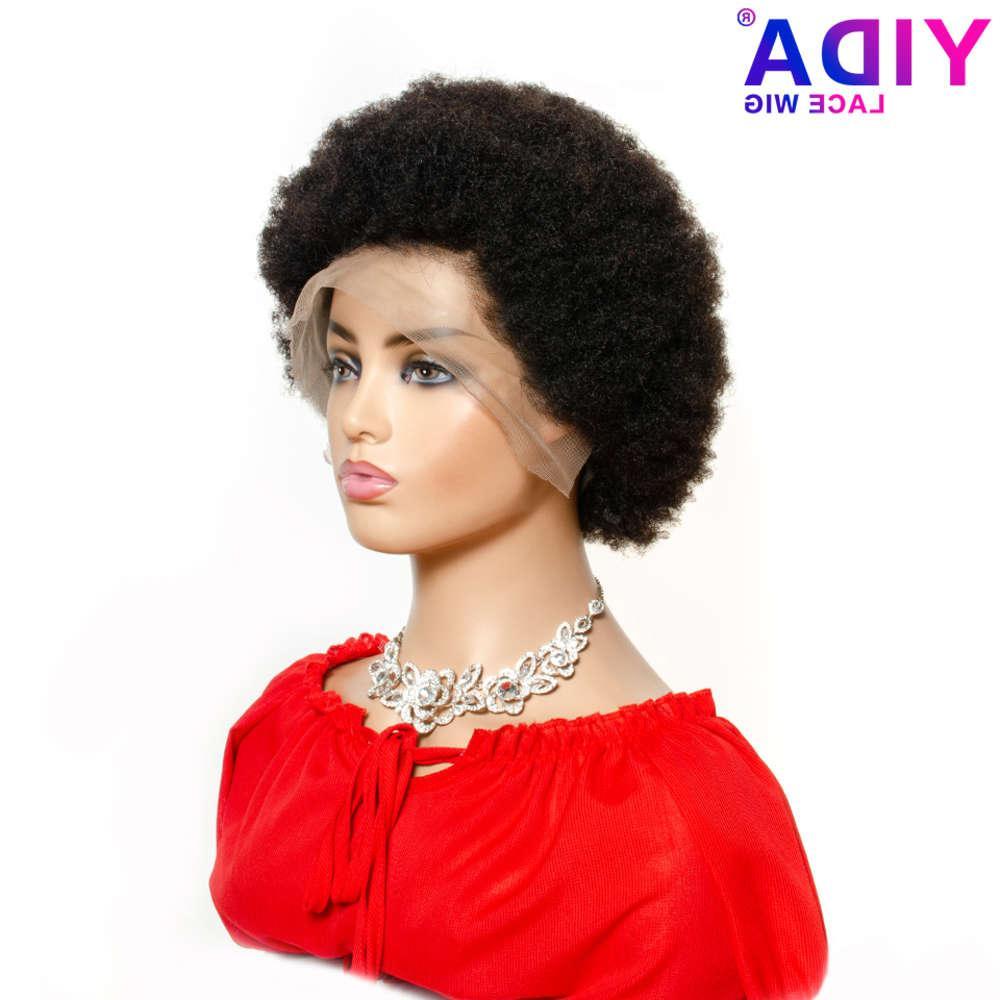 Peluca de soplo corta Brasileño 13x4 Frente de encaje Color natural Remy Afro Kinky Curly Pelucas de cabello humano para mujeres negras 150% Yida
