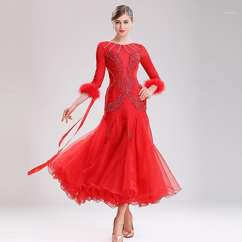 Stage Wear Ballroom Dance Competition Dresses Waltz Dress Standard Women Costumes Feather White1