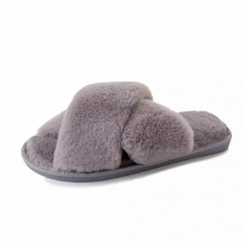 Newbeads Fuzzy Pantoufles Pour Femmes Chaussures plates en intérieur Chaussures Hiver Hiver House Slipper Femmes Pantoufles N ° 1C5V