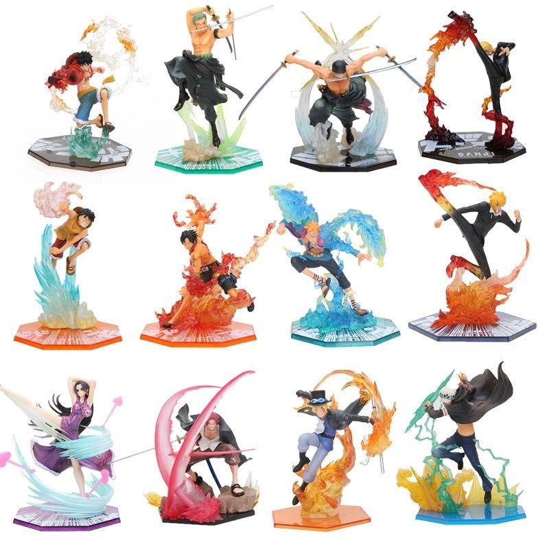 17-20cm Anime One Piece Roronoa Zoro Luffy Ace Boa Sanji Shanks Sabo PVC Action Figure jouets Une seule pièce bataille ver y200421