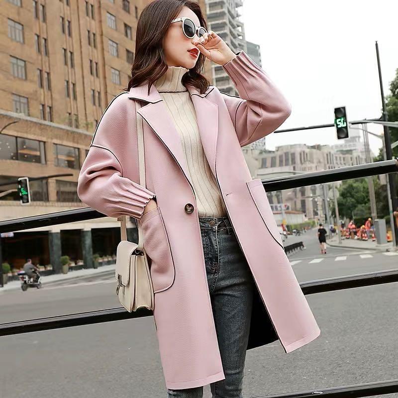 Women's Wool & Blends Casual Women Coats 2021 Korean Style Autumn Winter Coat Medium Long Overcoat Female Woolen Jacket