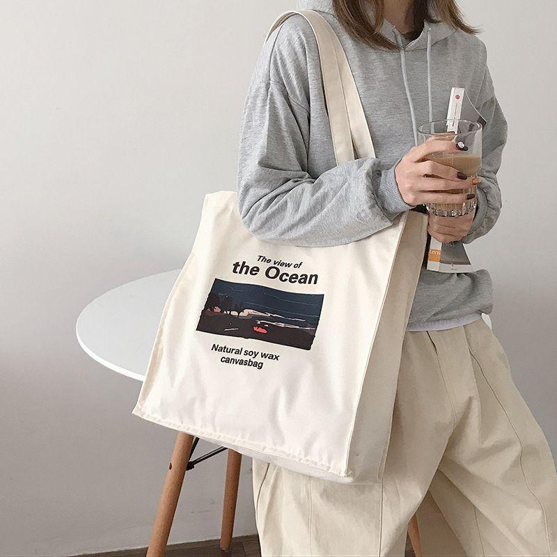 Youda 2020 New Women's Art Retro Canvas Handbag Large Capacity Oil Painting Book School Bags Korean Shoulder Bag for Girls C1223