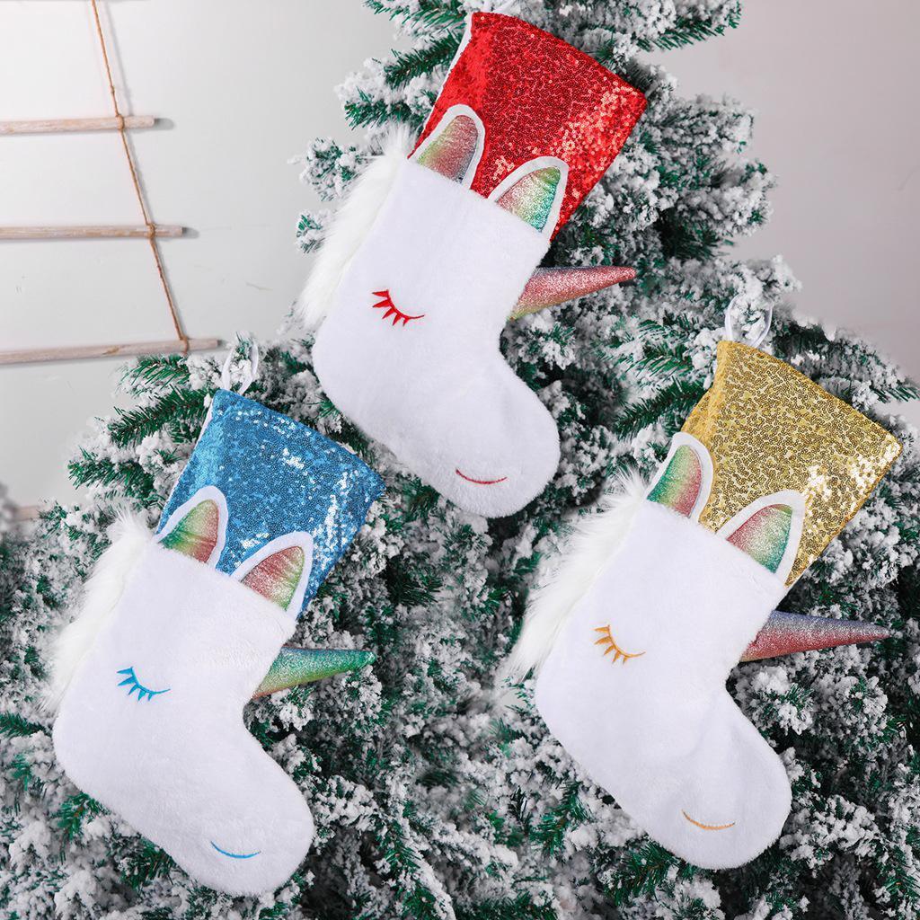 Einhorn Weihnachten Strümpfe Weihnachten hängende Party Dekoration Weihnachten Süßigkeiten Halter Große Schöne Pailletten Einhorn Socken BeF763
