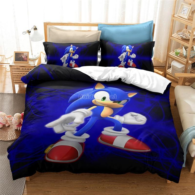 Home Textile 3D Sonic The Hedgehog Print Bedding Set Children Cotton Cartoon Duvet Cover Sets Twin Full Queen King Free Shipping