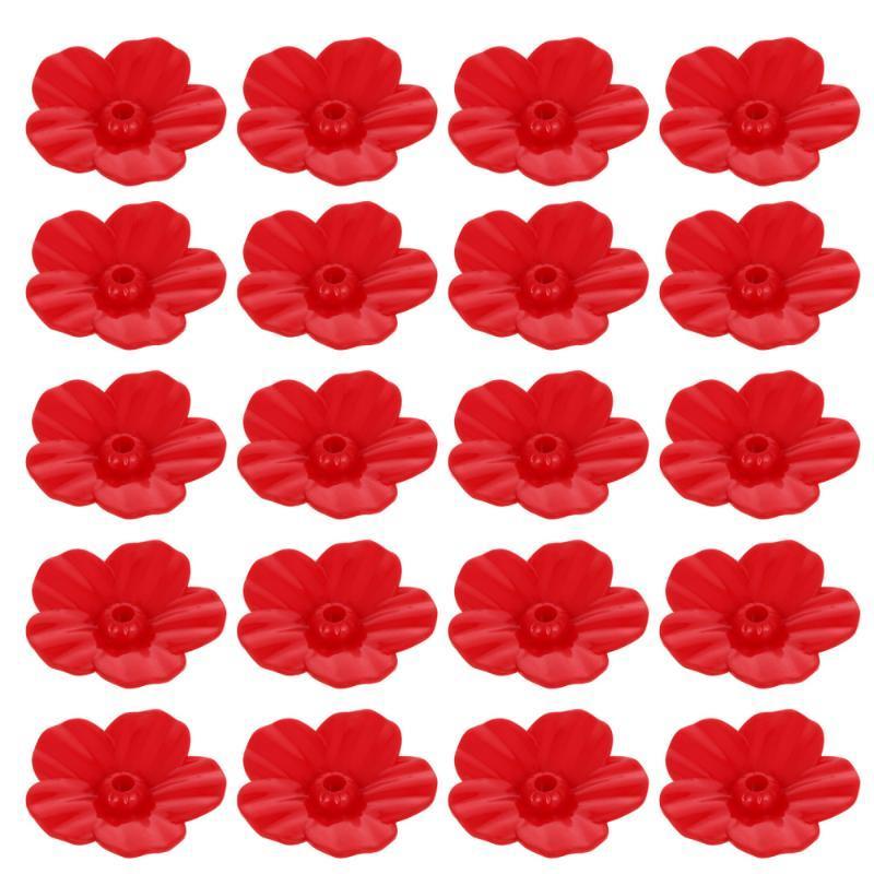 25 stücke Ersatz Blume Fütterungsöffnungen Vogelzufuhr Blumen Outlet Decor (rot)