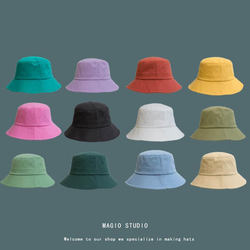 Breite Rand Hüte [Meltryllis] Koreanische Erwachsene Solide Farbe Sommer Faltbare Eimer Hut Strand UV-Schutz Runde Top Sonnencreme Fischer-Kappe