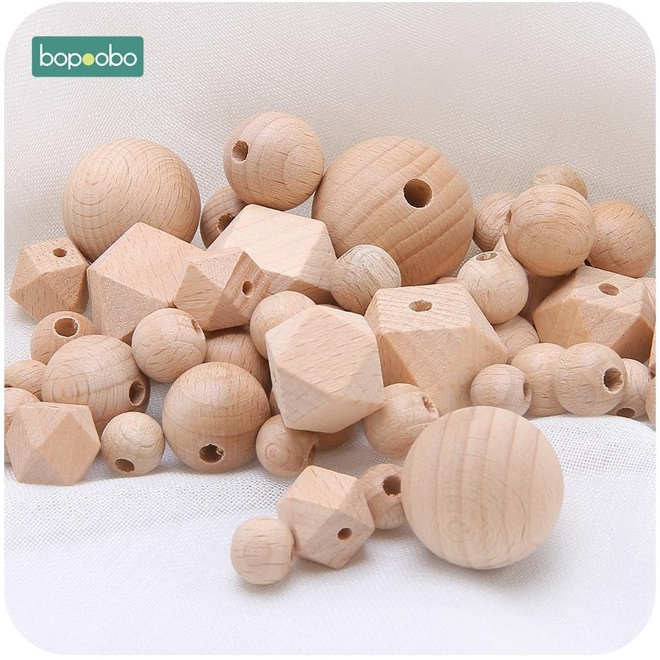 Bopoobo 100pc 8-25mm Beech Wood Teether Wooden Beads Chewable Wood Tiny Rod Teething Hexagon Beads Diy Pendant Crafts Accessory 201123