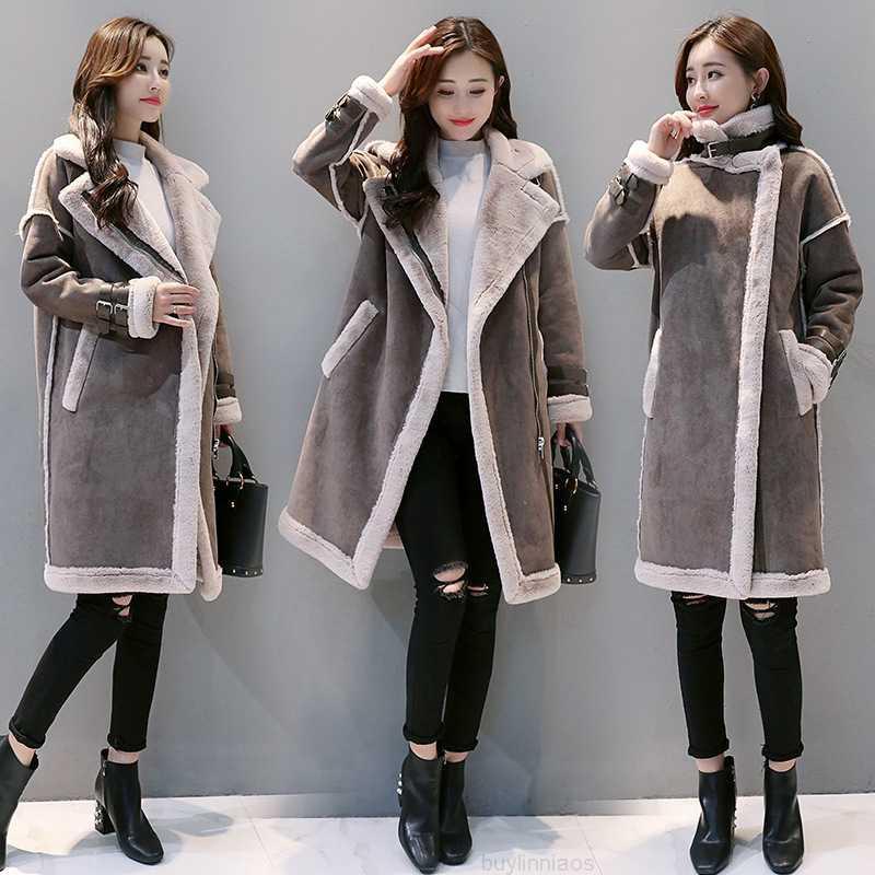 Сезон один из мех в MI средне длиннее 2020 Корейский ягненок шерсть женская зимняя бархатная утолщенная хлопковая куртка