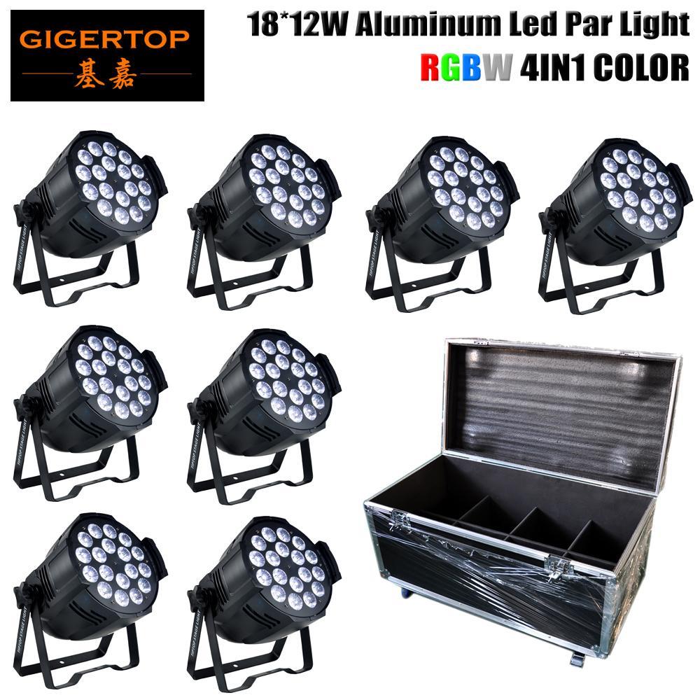 8IN1 Flight Packung 18x12W RGBW LED-Reflektorlampe 4/8 Kanäle 220W Led Par Cans LED-Anzeige DMX Input Output-Gebäude-Wand-Wäsche