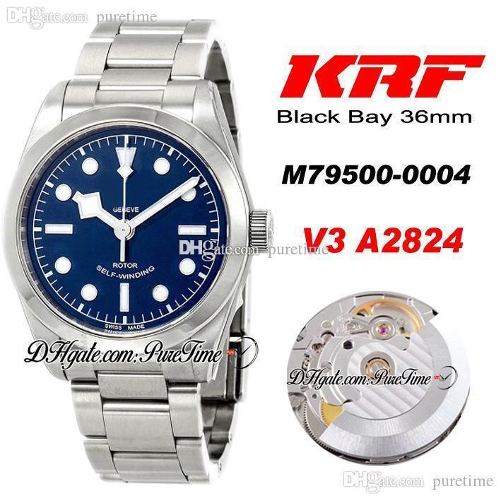 KRF V3 36mm A2824 Otomatik Erkek İzle Çelik Cilalı Çerçeve Mavi Arama Beyaz Markerler Paslanmaz Çelik Bilezik En Iyi Baskı Puretime TD-D4