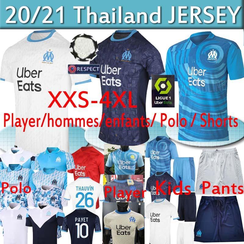 camisas de futebol 4xl Olympique Marseille camisas OM maillot de pé PAYET Thauvin BENEDETTO Fãs Jogador 20 21 Homens Kid hommes enfants POLO Calças