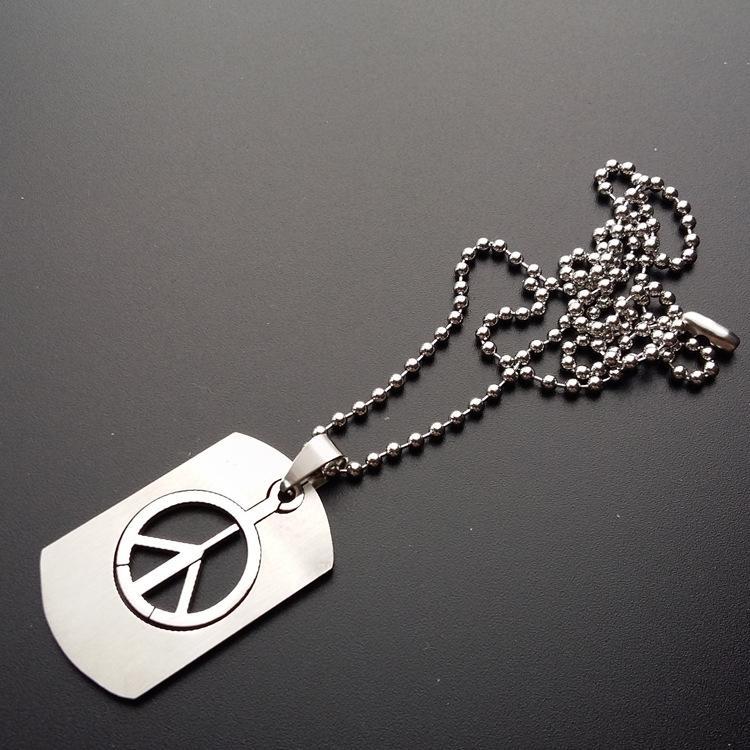 Acero inoxidable Collar Boys de la manera collar con cadena larga contra la guerra signo de la paz Símbolo de los colgantes