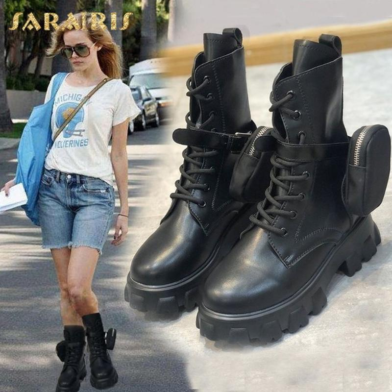 Sarairis 2020 New Arrivals Motorcycle Boots Woman Shoes Platform Lace Up Comfortable INS Hot Dropship Shoes Ladies Boots Female