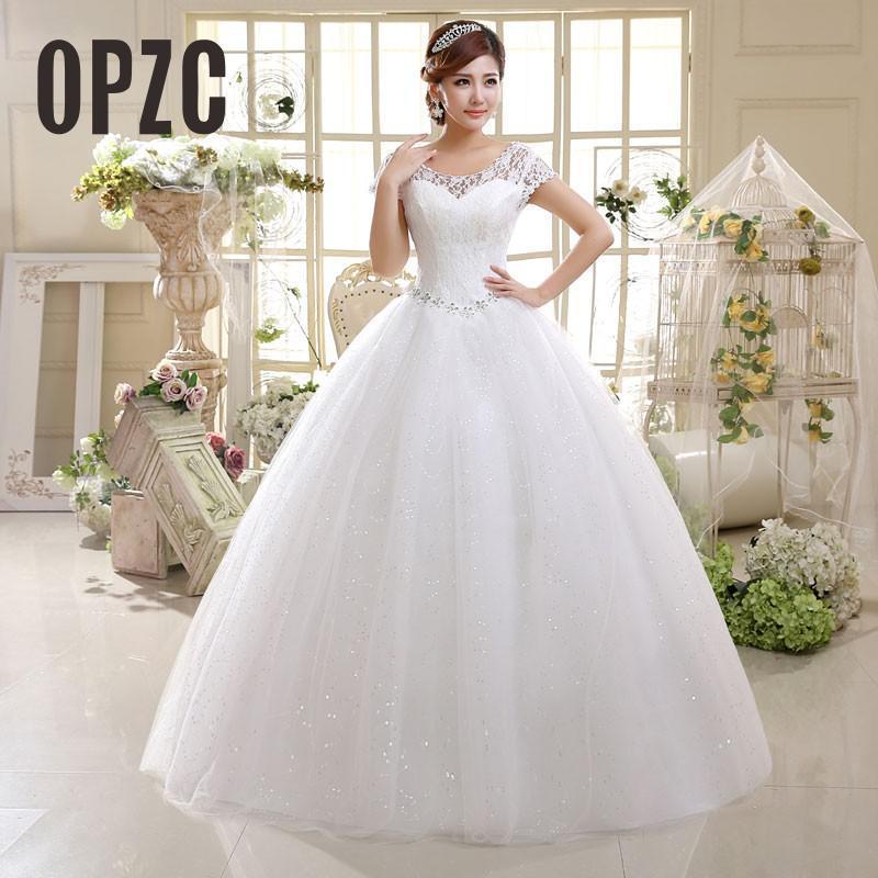Estilo simple coreano de la manga clásico barato casquillo de la manera cortocircuito del cordón de los vestidos de novia vestidos de novia 2021 Vestido Crystal Casamento Q1113